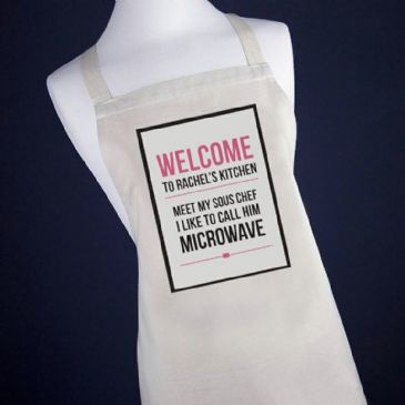 Personalised Microwave Apron, Pink or Blue